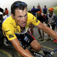 lance armstrong riding his bicycle whilst under the influence of drugs